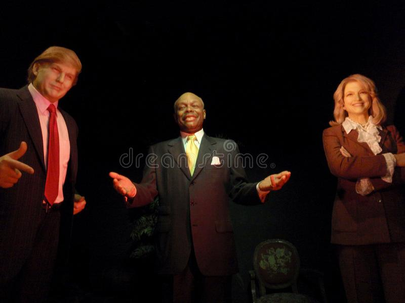 Wax statue of Mayor Willie Brown and President Donald Trump on display at Madame Tussauds. San Francisco - July 5, 2009: Wax statue of Mayor Willie Brown and stock image