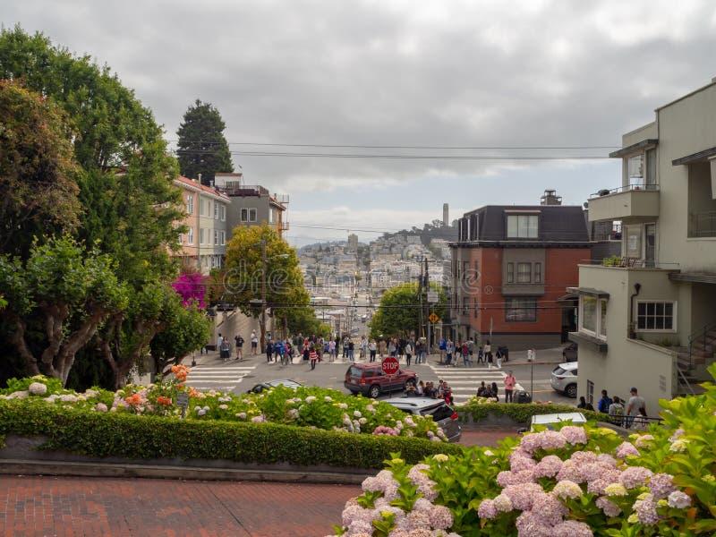San Francisco, Kalifornia, usa: Lombard Street, stromy wzgórze, hairpin zwroty obrazy royalty free