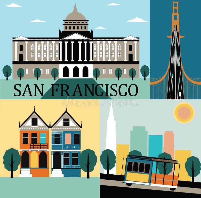San Francisco Kalifornien. vektor illustrationer