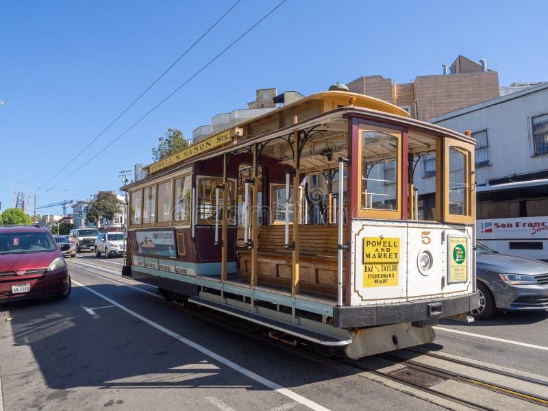 San Francisco, Kalifornien, USA - Mai 2017: Nahaufnahme der Drahtseilbahn lizenzfreie stockfotos