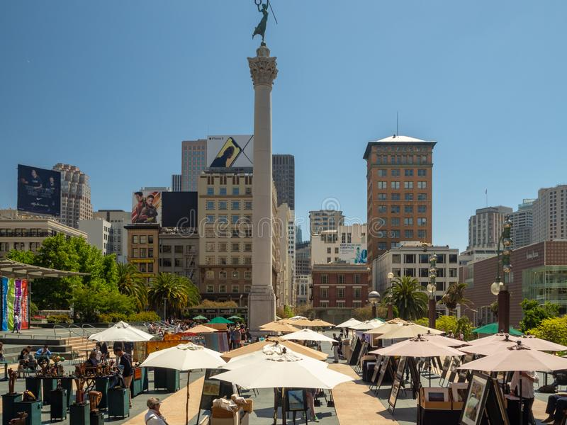 San Francisco Kalifornien, USA: Union Square marknad som är i stadens centrum royaltyfri fotografi