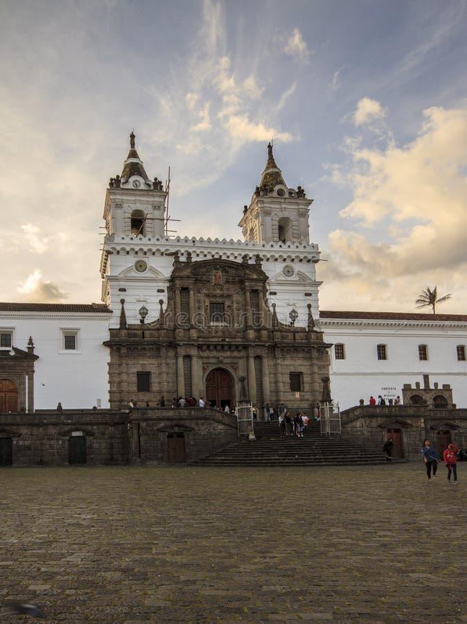 San Francisco kościół lokalizować w Quito Ekwador zdjęcie royalty free