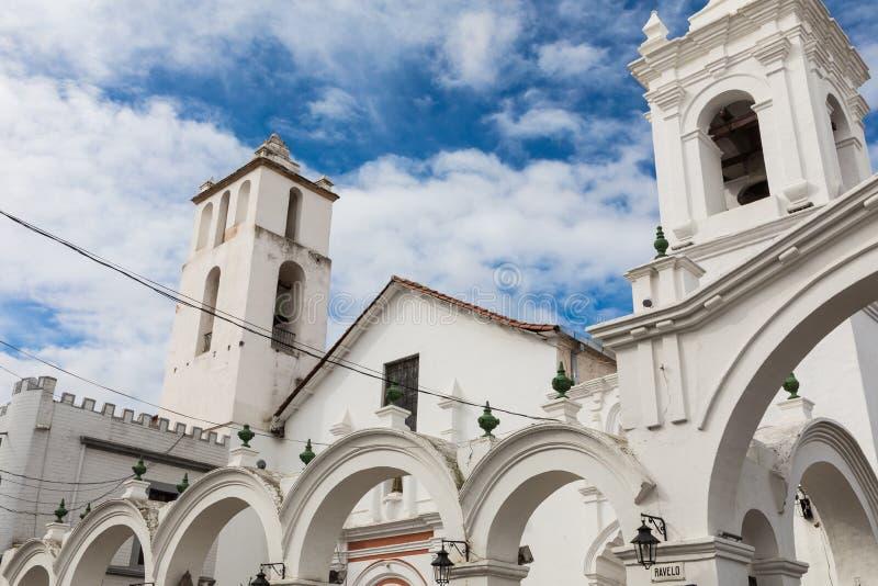 San Francisco kyrka i Sucre, Bolivia Sucre är constitutioen arkivfoto