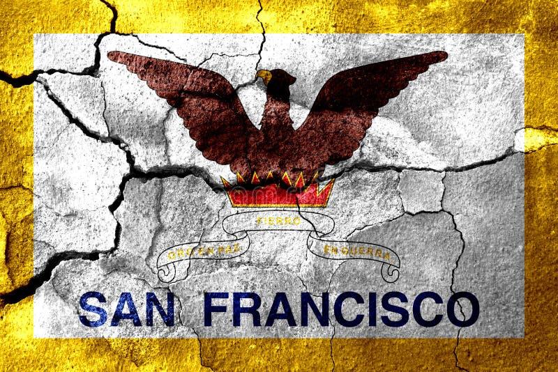 San Francisco, la California ha arrugginito bandiera incrinata, fondo arrugginito Gli Stati Uniti d'America illustrazione vettoriale