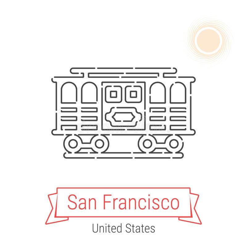 San Francisco, linha ícone do vetor do Estados Unidos ilustração royalty free
