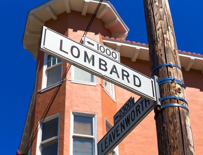 San francisco Lombard Street sign in California royalty free stock photo