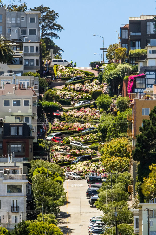 San Francisco Lombard Street 8 vueltas de la horquilla imagenes de archivo