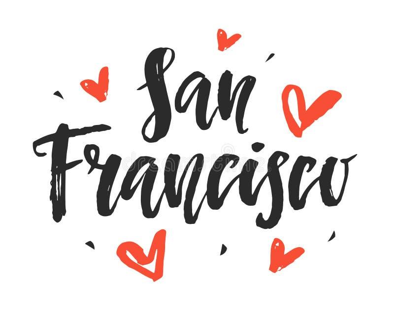 San Francisco Mano moderna della città scritta l'iscrizione della spazzola illustrazione di stock