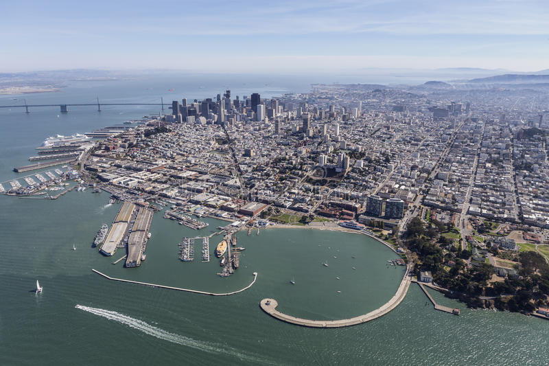 San Francisco Marina District, Fishermans Wharf and Downtown Sky stock images