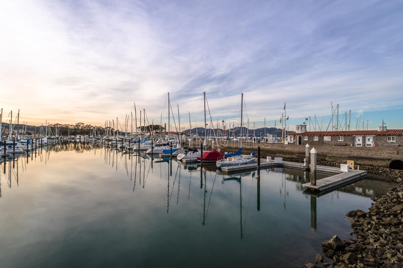 San Francisco Marina Yacht Harbor at Sunset - San Francisco, California, USA royalty free stock image