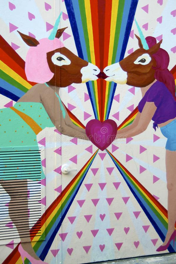 The Lesbian Unicorns kissing Mural of Clarion Alley, San Franisco stock photos