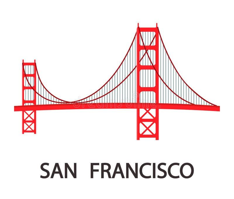 San Francisco Modern Cityscape Flat Illustration illustrazione di stock
