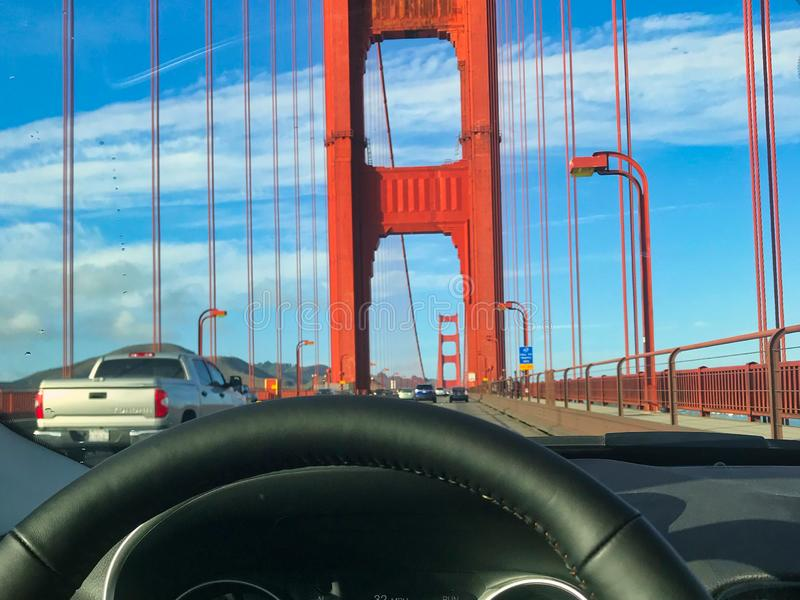 Driving in golden gate bridge in america royalty free stock photos