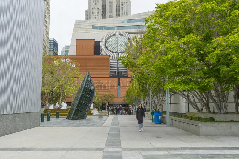San Francisco Muesum of Modern Art with skyscraper in background. royalty free stock photos