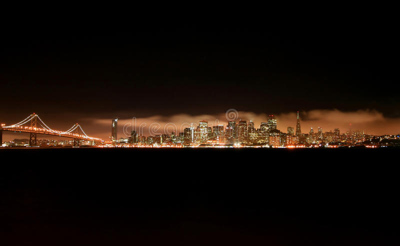 San Francisco Night Skyline Stock Photography