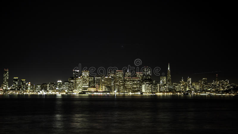 San Francisco Night Skyline royalty-vrije stock afbeeldingen