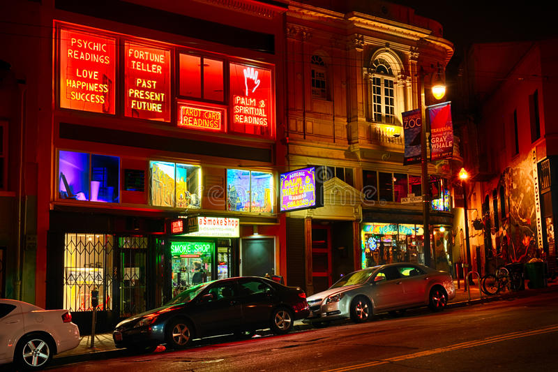 San Francisco - North Beach at Night. A night shot of the Vesuvio Café and famous Jack Kerouac Alley along Columbus Avenue in the North Beach section of San stock photo