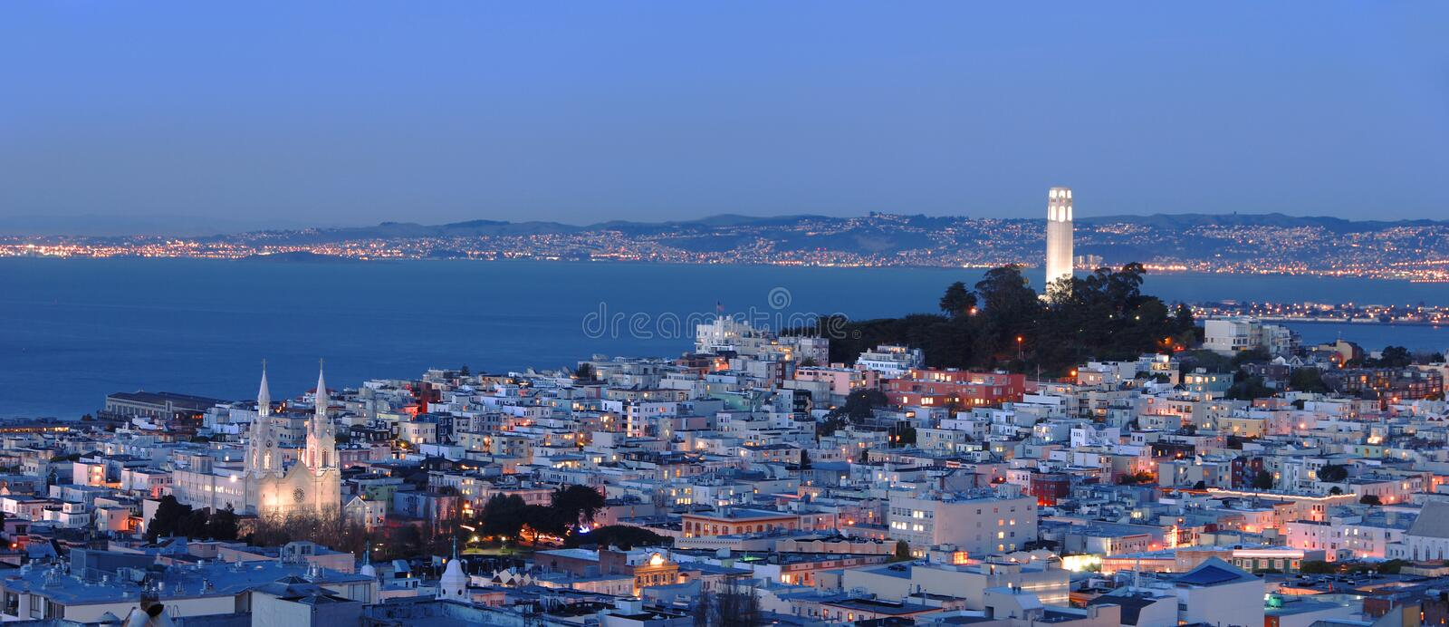 San Francisco - North Beach Panorama. A seamlessly stictched panoramic shot of San Francisco North Beach Area. Famous San Francisco landmarks Coit tower and stock images
