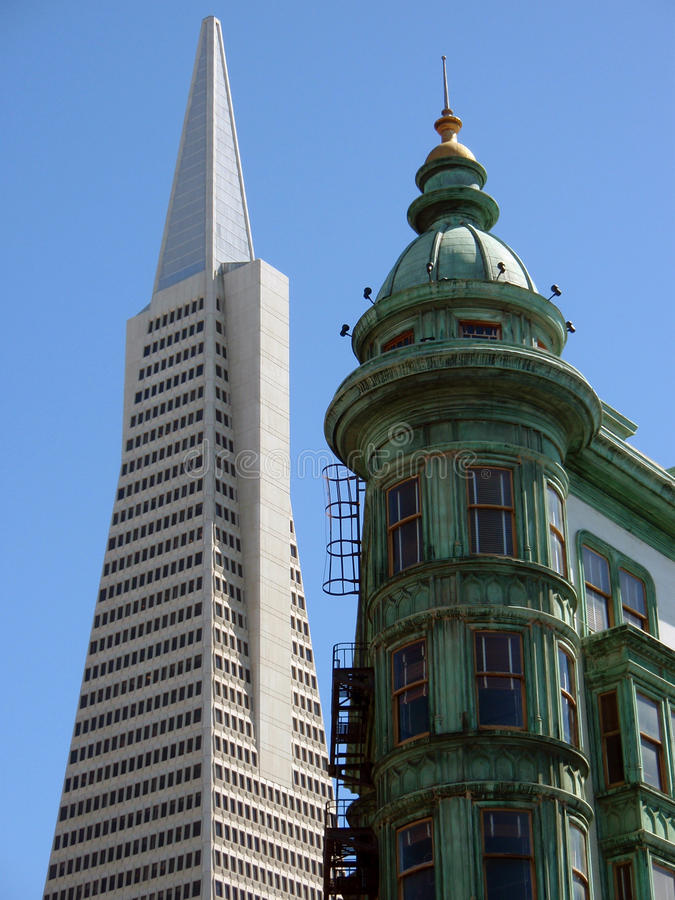 San francisco - old and new. Transamerica pyramid and old building in san francisco royalty free stock photography