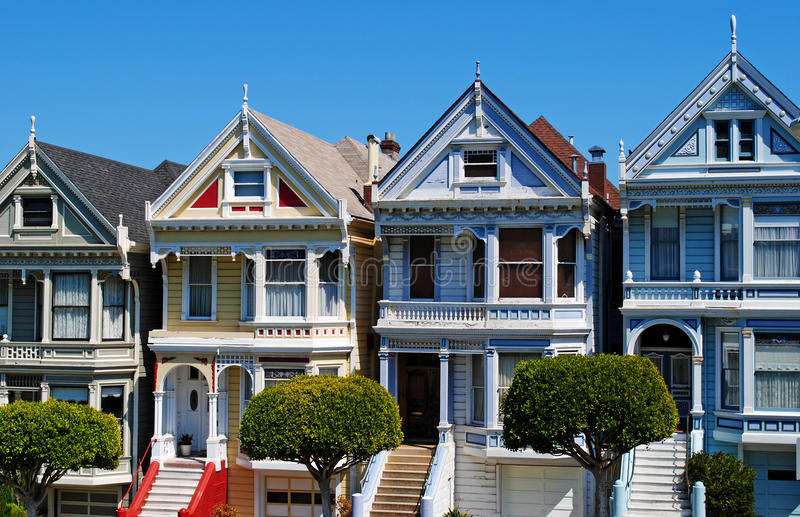 San Francisco Painted Ladies. Painted Ladies, colourful historical Victorian houses near Alamo Square, San Francisco royalty free stock photos