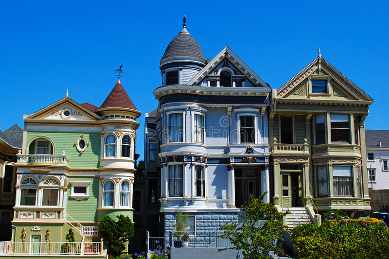 San Francisco Painted Ladies. Painted Ladies, colourful historical Victorian houses near Alamo Square, San Francisco royalty free stock photography