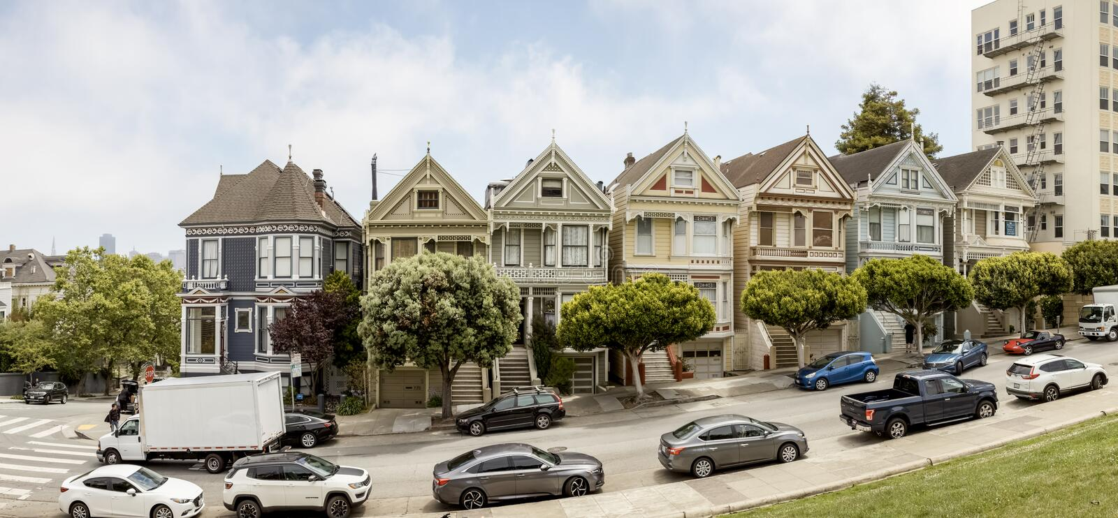 San Francisco, Painted Ladies, architecture, victorian house, California, United States of America, Usa, Alamo Square, panoramic. stock images