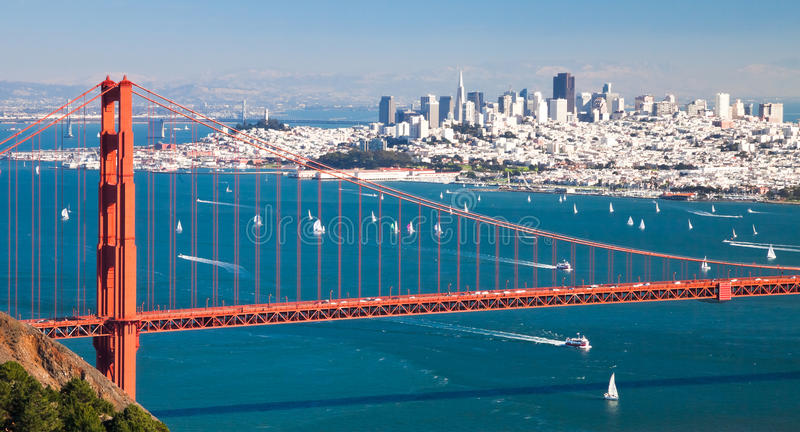 San Francisco Panorama w the Golden Gate bridge stock images