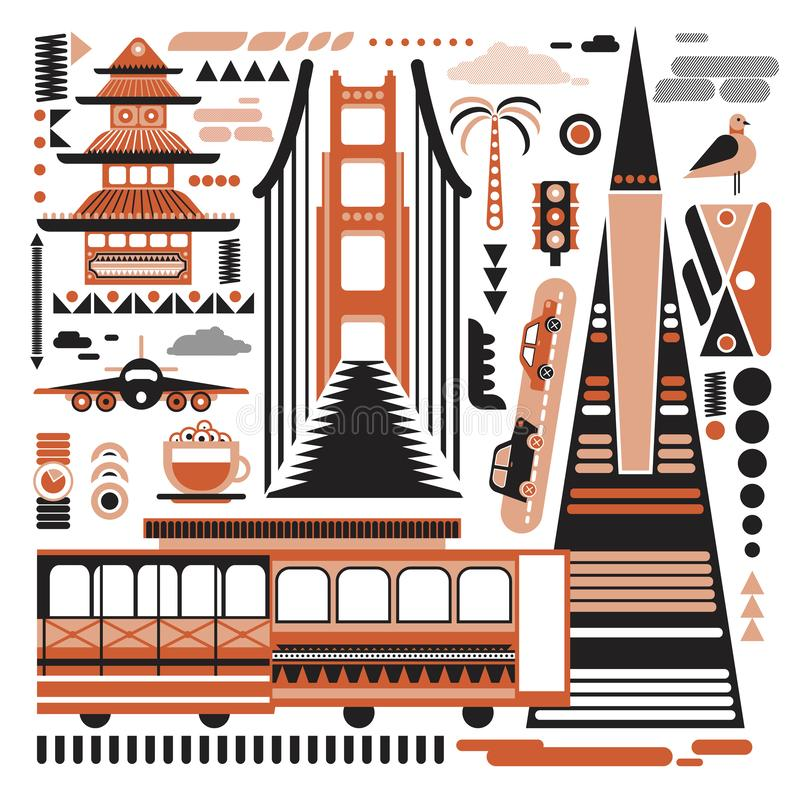 Free San-Francisco Pattern Simple Illustration On White Background Stock Photos - 154648113