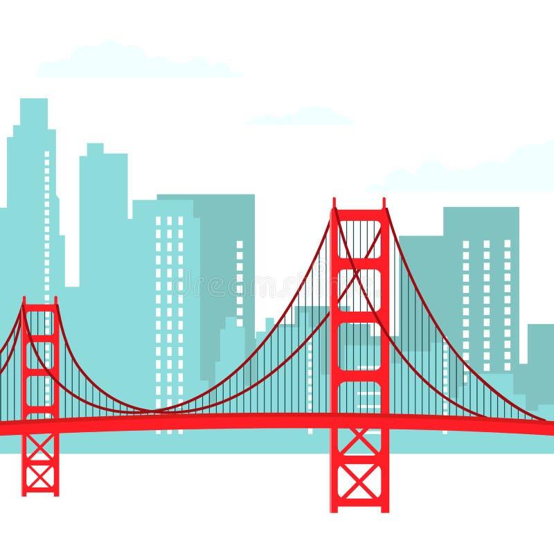 San Francisco pejzażu miejskiego wektoru Nowożytna ilustracja royalty ilustracja
