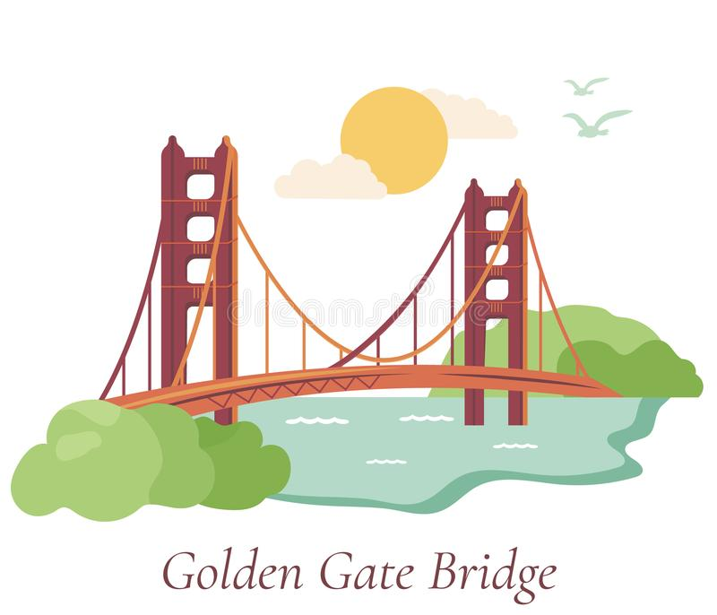 San Francisco poster with Golden Gate Bridge. Welcome to San Francisco. Poster with Golden Gate Bridge royalty free illustration
