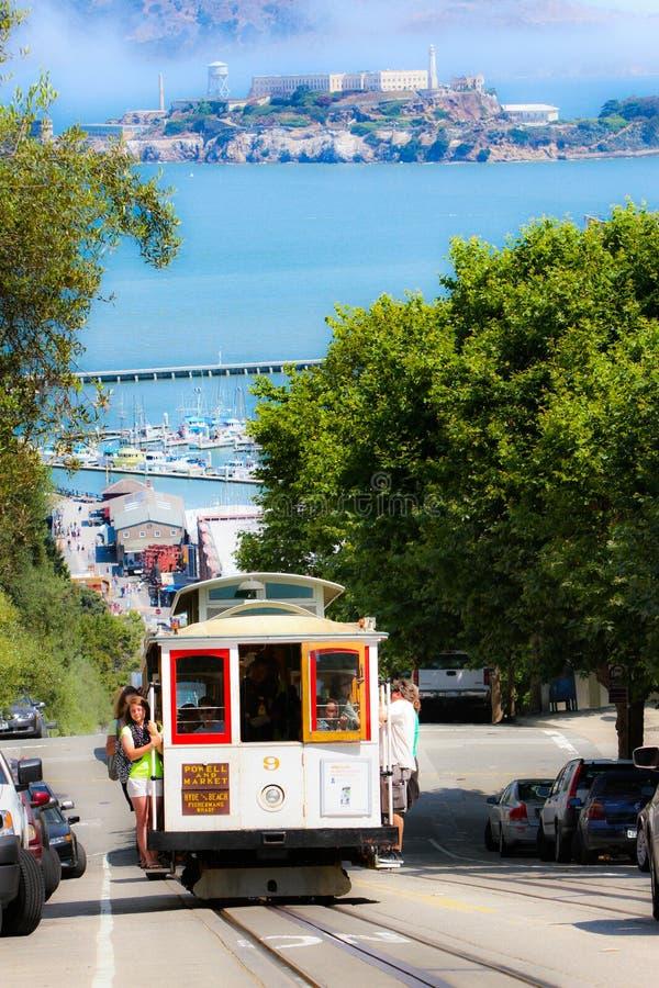 San Francisco Powell-Hyde Cable Car, Alcatraz royalty free stock photo