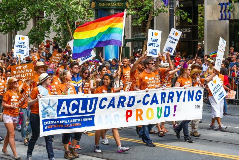 San Francisco Pride Parade ACLU di California del Nord fotografia stock