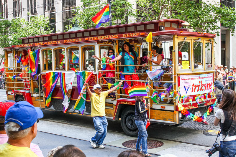 San Francisco Pride Parade PFLAG Trolley Float Editorial