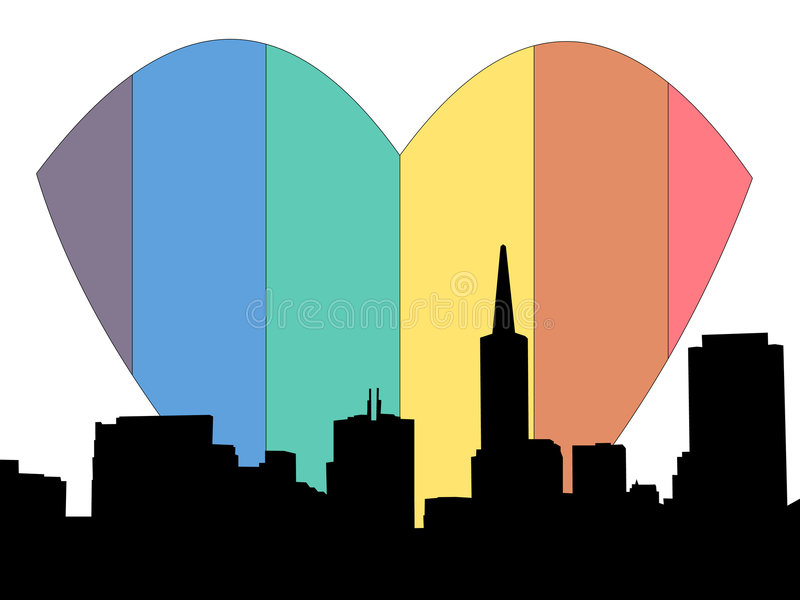 San Francisco Rainbow Heart Royalty Free Stock Photos