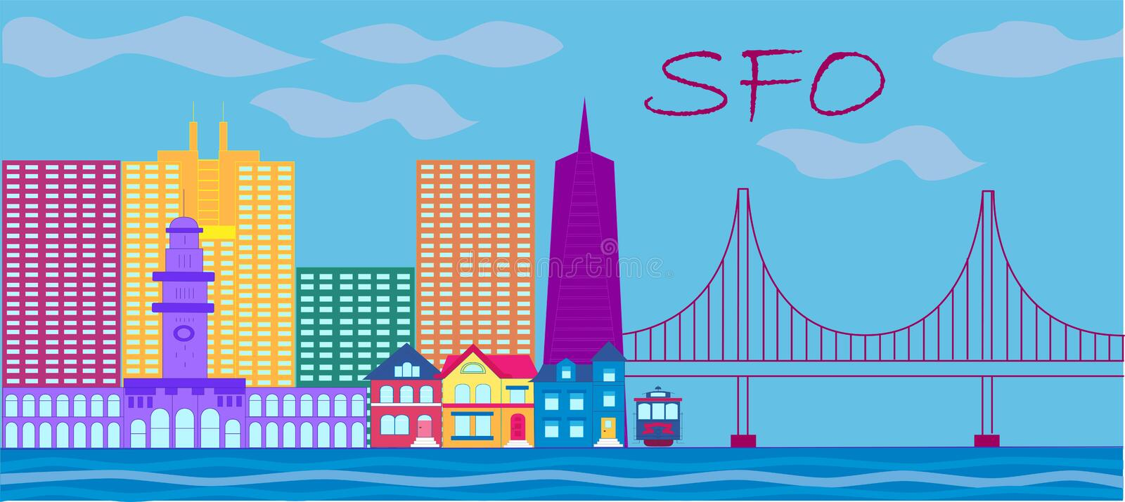 San Francisco red lettering. Vector with skyscrapers, colorful victorian style houses , cable car and golden gate bridge . vector illustration