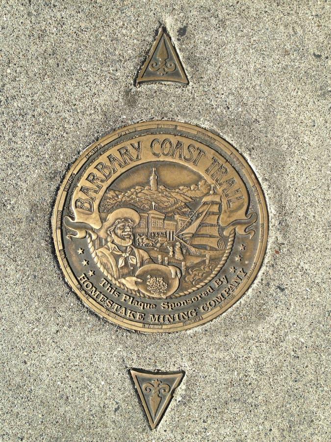 San Francisco`s Barbary Coast Trail Medallion, 6. stock photography