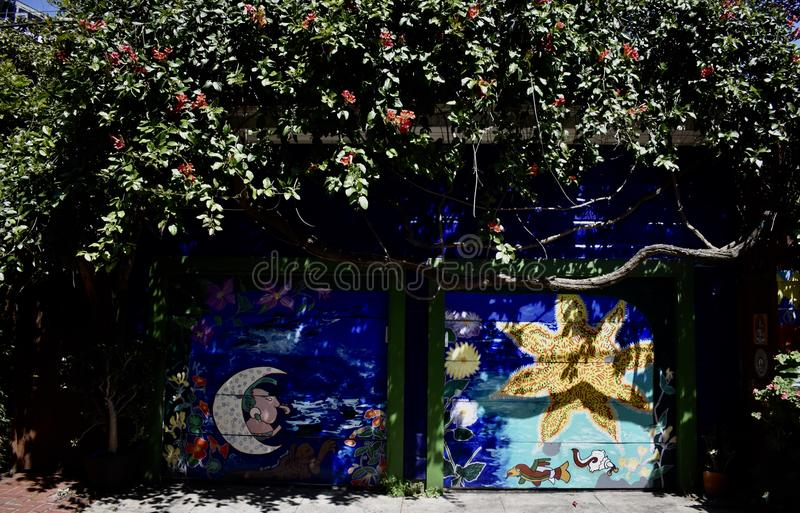 San Francisco`s world recognized Balmy Alley murals, 20. San Francisco`s Mission District has the highest concentration of murals of any neighborhood in the stock photography