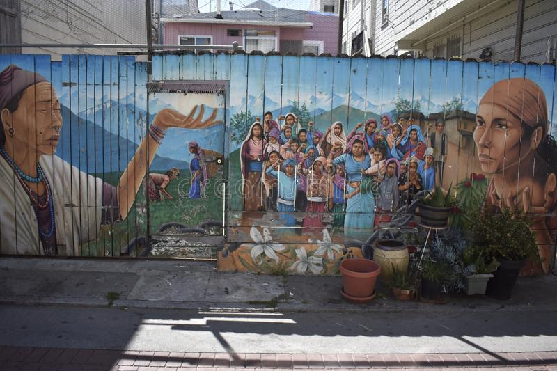 San Francisco`s world recognized Balmy Alley murals, 40. San Francisco`s Mission District has the highest concentration of murals of any neighborhood in the stock images
