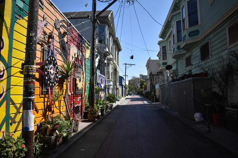 San Francisco`s world recognized Balmy Alley murals, 48. San Francisco`s Mission District has the highest concentration of murals of any neighborhood in the royalty free stock image