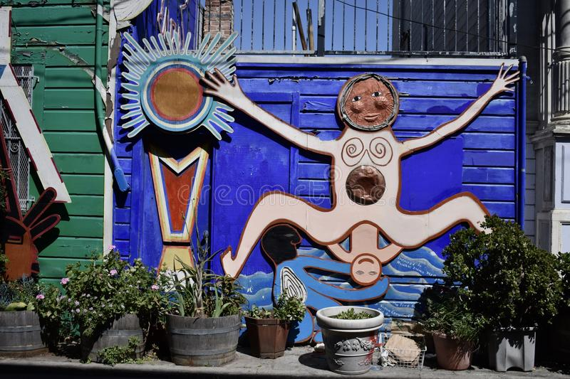 San Francisco`s world recognized Balmy Alley murals, 42. San Francisco`s Mission District has the highest concentration of murals of any neighborhood in the stock photo