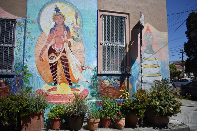 San Francisco`s world recognized Balmy Alley murals, 2. San Francisco`s Mission District has the highest concentration of murals of any neighborhood in the city stock image