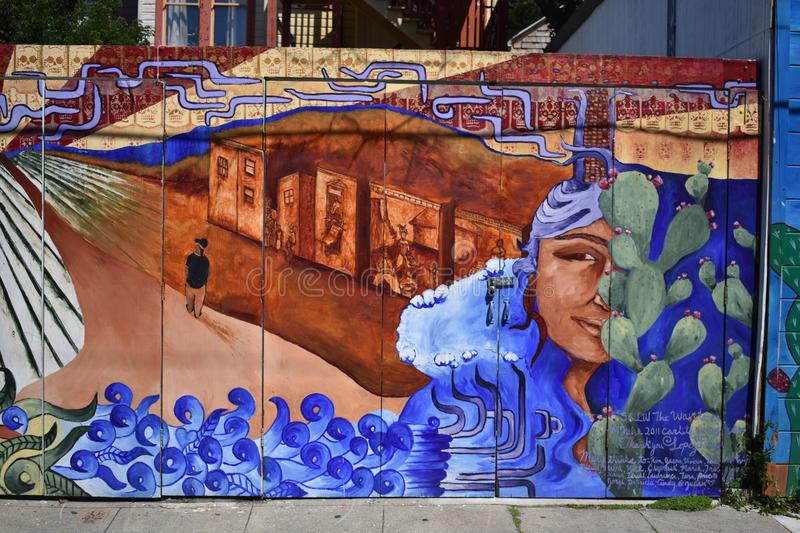 San Francisco`s world recognized Balmy Alley murals, 24. San Francisco`s Mission District has the highest concentration of murals of any neighborhood in the royalty free stock photo