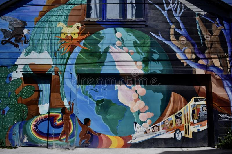 San Francisco`s world recognized Balmy Alley murals, 25. San Francisco`s Mission District has the highest concentration of murals of any neighborhood in the stock images