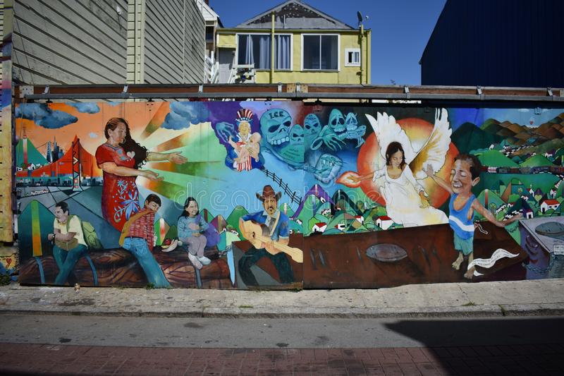 San Francisco`s world recognized Balmy Alley murals, 38. San Francisco`s Mission District has the highest concentration of murals of any neighborhood in the royalty free stock photo
