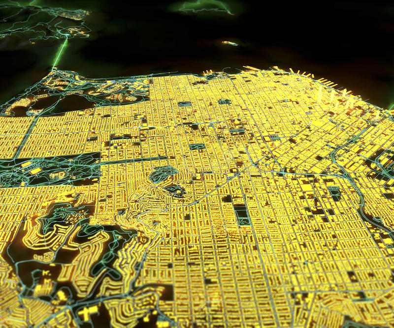 San Francisco satellit- sikt, 3d royaltyfri illustrationer