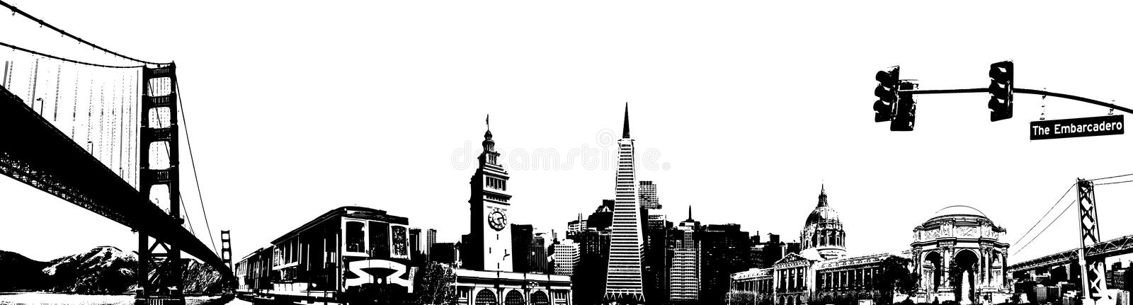 San Francisco sketch. A collage of the city of san francisco