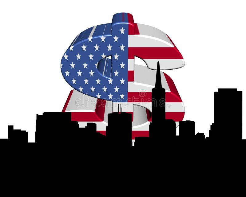 Download San Francisco Skyline American Flag Dollar Stock Illustration - Image: 16410201
