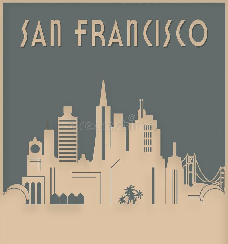 San Francisco Skyline Art Deco Style royalty illustrazione gratis