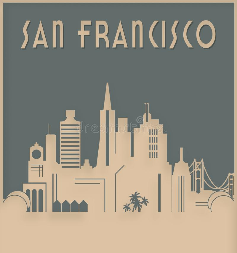 San Francisco Skyline Art Deco Style royalty free illustration