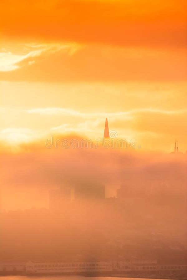 Free San Francisco Skyline At Sunrise Between Clouds Royalty Free Stock Photo - 104650375